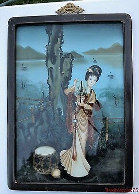 Qing Dynasty Chinese Reverse Painted Glass Beautiful Robed Lady Maiden