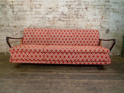 "German Mid Century Sofa Day Bed with Strung ""Harp"" Arms Retro Antique Vintage"