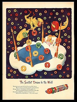 "Original 1946 ""life Savers"" Sweet Dreams Little Girl Candy Art Print Ad"