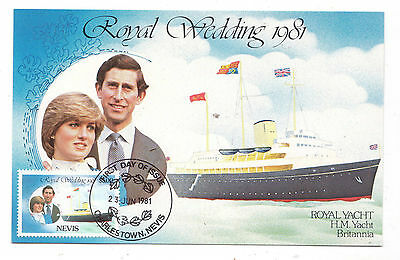 Charles + Diana Royal Wedding Postcard + Nevis $5.00 Stamp +  Postmark 1981
