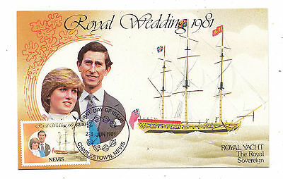 Charles + Diana Royal Wedding Postcard + Nevis $2.00 Stamp +  Postmark 1981