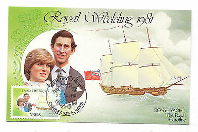 Charles + Diana Royal Wedding Postcard + Nevis 55c Stamp +  Postmark 1981
