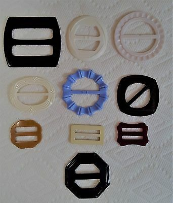 Vintage Lot of 10 Plastic Celluloid Buckles Carved Sewing Crafts