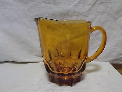 Vintage Deep Amber Glass 1.5 qt (48 oz) Water Tea Pitcher 6.5 inch Footed