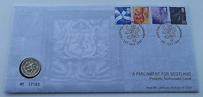 1999 Scottish Parliament PNC Stamps and £1 Coin