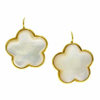 18k Gold Clover Mother of Pearl Earrings Large