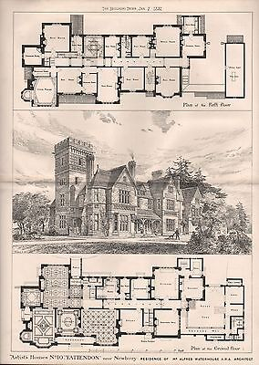 1881 Antique Architectural Print- Artist's Homes 10-Yattendon,alfred Waterhouse,