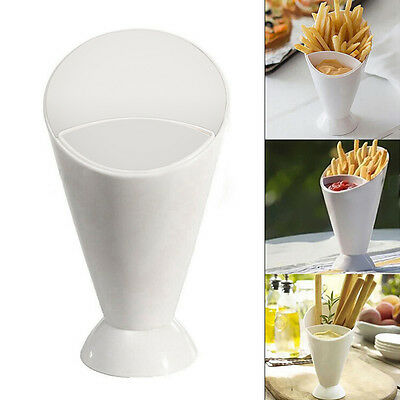 White Snack Cone Stand Dip Holder For Fries Chips Finger Food Sauce Vegetable FT