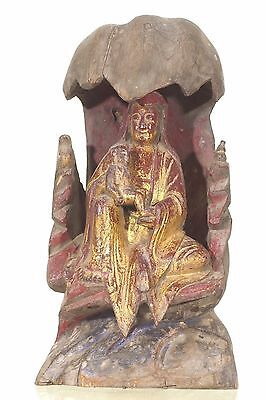 Antique/Vintage Chinese Red Gold Wood Statue Figure Kwan Yin,Republican Pe-,1936