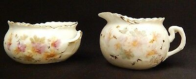 Antique China - Open Sugar Bowl and Creamer Set / Hand Painted Porcelain