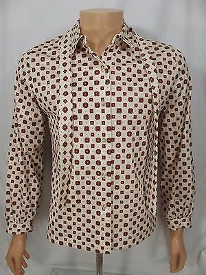 Vintage 1970s Womens Disco POLYESTER Shirt blouse small S Cos Cob bow tie