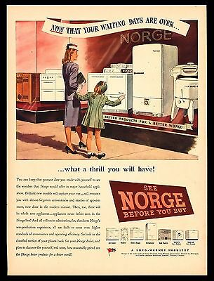 "Original 1946 ""norge Appliances"" Refrigerator-Stove-Washer Art Print Ad"