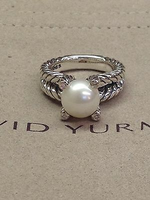 David Yurman Cable Pearl Ring With Diamonds Size 8
