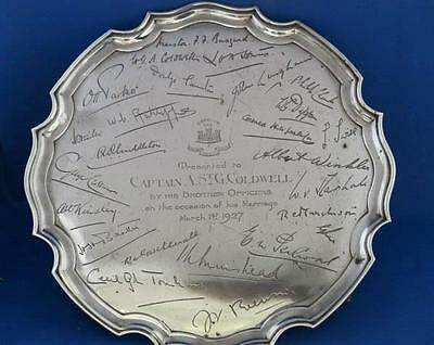 Marriage Presentation Mappin Webb Silver Salver, signed. Northampton Reg '27