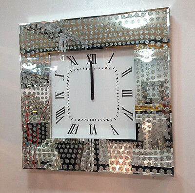 Modern Glitter Dots Mirrored Glass Square Wall Clock 50cm Silver Bevelled Mirror