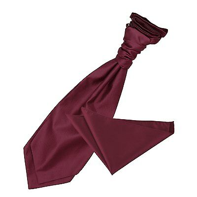 New Dqt Solid Check Men's Wedding Cravat & Hanky Set - Burgundy