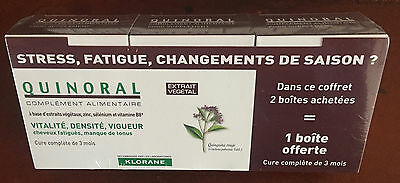 quinoral klorane fabre complement alimentaire chute cheveux 3 boites neuf