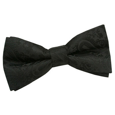 DQT Woven Floral Paisley Black Wedding Classic Mens Pre-Tied Bow Tie