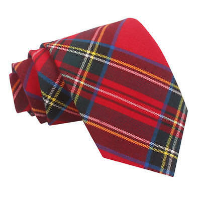 DQT Woven Tartan Plaid Red Royal Stewart Formal Casual Mens Classic Tie