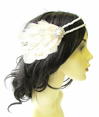 Cream Ivory White Peacock Pearl Feather Headpiece 1920s Headband Flapper 1625