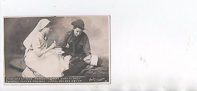 France 1914 Boy Scout And Nurse Red Cross Cure One Wounded War.real Photocard