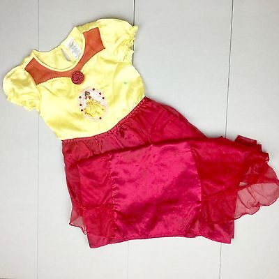 DISNEY STORE PRINCESS BELLE HOLIDAY COSTUME DRESS Size 7/8 M GUC Girls HTF