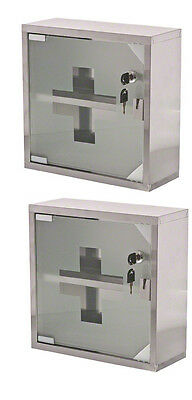 Update International SilverStainless Steel First Aid Cabinet with Key Pack of 2