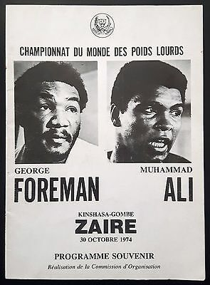 1974 MUHAMMAD ALI v GEORGE FOREMAN rare on-site boxing programme Cassius Clay