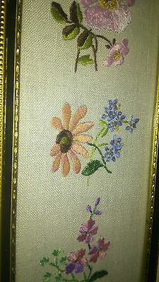 Framed Antique Embroidered Flower Sampler