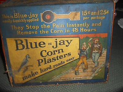 ANTIQUE Blue Jay Corn Plasters Advertising DISPLAY BOX WITH 2 DRAWERS