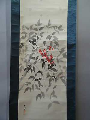 """Japanese hanging scroll Handpainted on Paper  """"Flowers"""" s1217"""