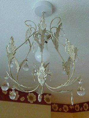 Cream Shabby Chic Lightshade With Crystal Effect Droplets