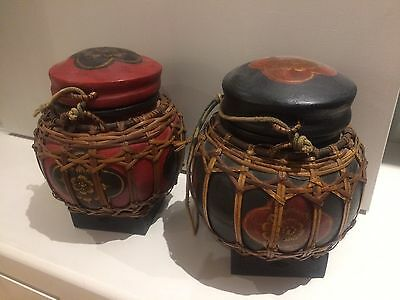 2 Vintage Wooden Oriental Asian Hand Painted Container Box Boxes Ginger Pot