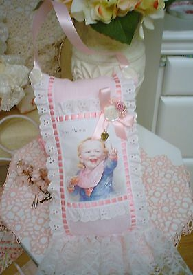 """Baby image """"say MAMA"""" lace charm Cottage chic Lavender sachet Pillow Door hangin"""