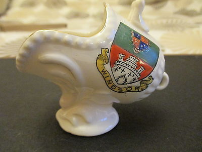 crested china model of a coal scuttle with windsor crest english manufacture