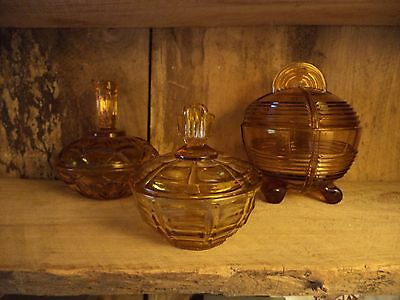 Vintage/antique look 3 piece amber glass dressing table vanity set/trinket box