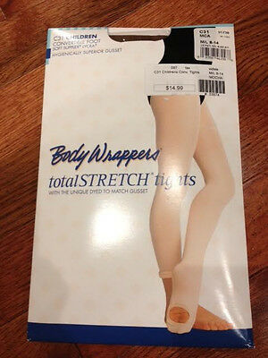 Body Wrappers C31 Convertible Foot Tights, Mocha, Size Child M/l 8-14