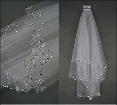 New 2T WHITE Elbow Beaded Edge Pearl Sequins Bridal Wedding Veil With Comb AG02