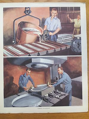 VINTAGE CLASSROOM POSTER 1950s Working in Aluminium Factory Scene Macmillans