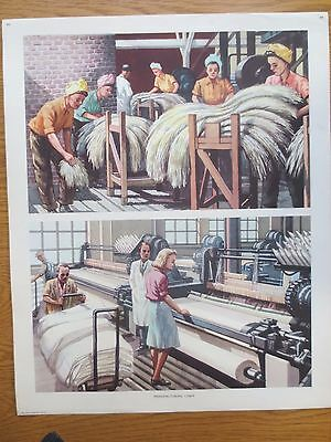 VINTAGE CLASSROOM POSTER 1950s Manufacturing Linen Factory Scene Macmillans