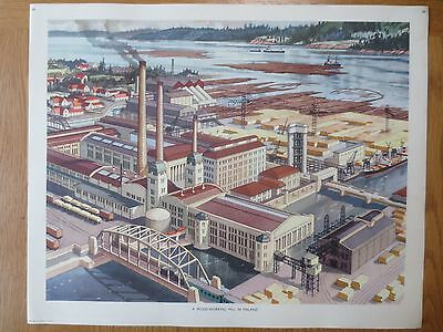 VINTAGE CLASSROOM POSTER 1950'S Finland Wood Working Mill Factory Macmillans