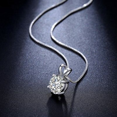 Bridesmaid 925 Silver Plated Cubic Zirconia Crystal Pendant Necklace Jewelry