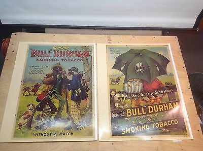 Vintage Pair Of Two Bull Durham Tobacco Posters (Black Americana) Excellent