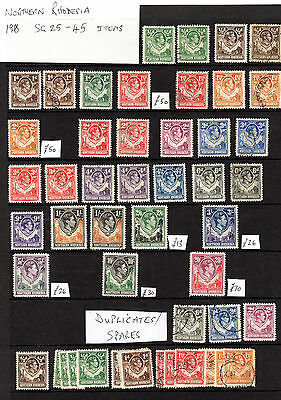 Northern Rhodesia 1938 used and mint including several high CV stamps