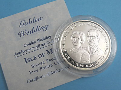 ISLE OF MAN - 1997 SILVER PROOF FIVE POUND £5 CROWN COIN - Wedding Anniversary