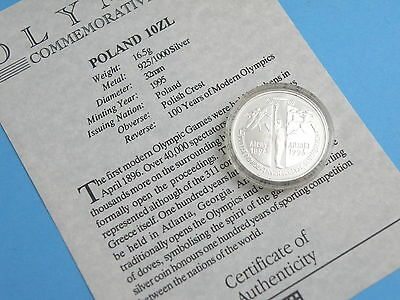 POLAND - 1995 SILVER PROOF 10 ZLOTYCH COIN - OLYMPIC GAMES - High Book Value