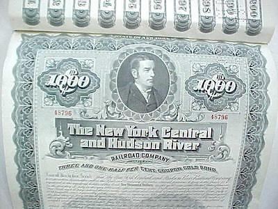 1897 $1000 100 Year Bond New York Central & Hudson River Railroad Co. w/ Coupons