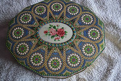 VINTAGE BISCUIT TIN CARR & Co.Ltd Embossed Mosaic 1930's Tin with Hinged Lid