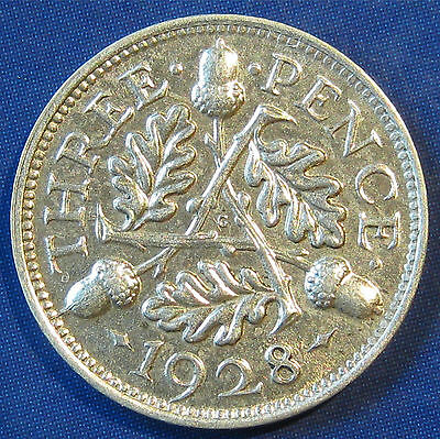 1928 3d George V Rare silver Threepence in an extremely high grade
