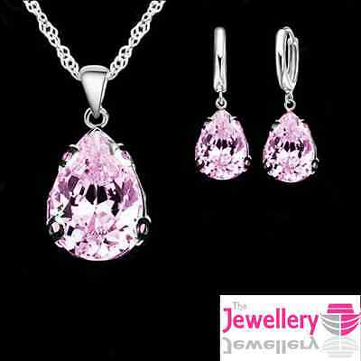 925 Silver Plated Pink Peardrop Crystal Pendant Necklace and Earring Womens Set